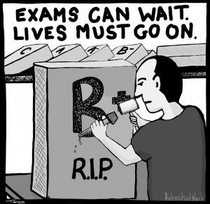 The slogan 'Exams can wait. Lives must go on' and the image of someone carving 'B+' into a gravestone