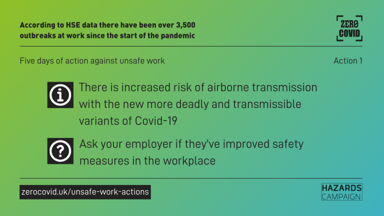 A graphics saying: There is increased risk of airborne transmission with the new more deadly and transmissible variants of Covid-19. Ask your employer if they've improved safety measures in the workplace.
