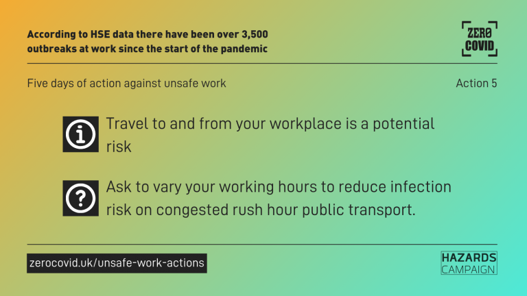 A graphic saying: Travel to and from your workplace is a potential risk. Ask to vary your working hours to reduce infection risk on congested rush hour public transport.
