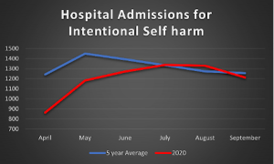 A chart showing hospital admissions for intentional self harm