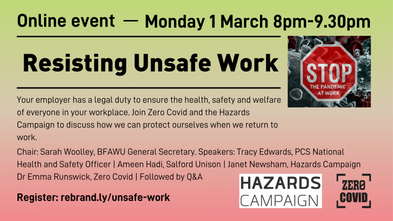 An advert for an online event on 1 March 2021: Resisting Unsafe Work