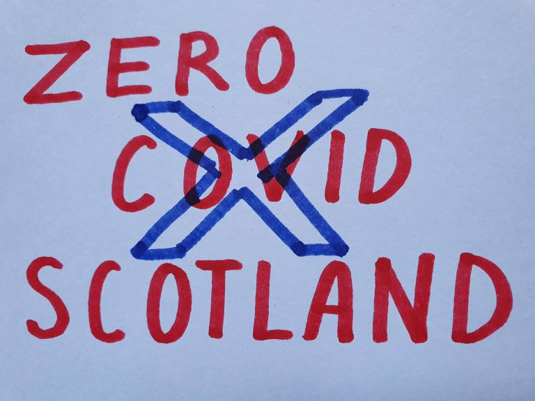 An image reading 'Zero Covid Scotland' with a Saltire flag superimposed