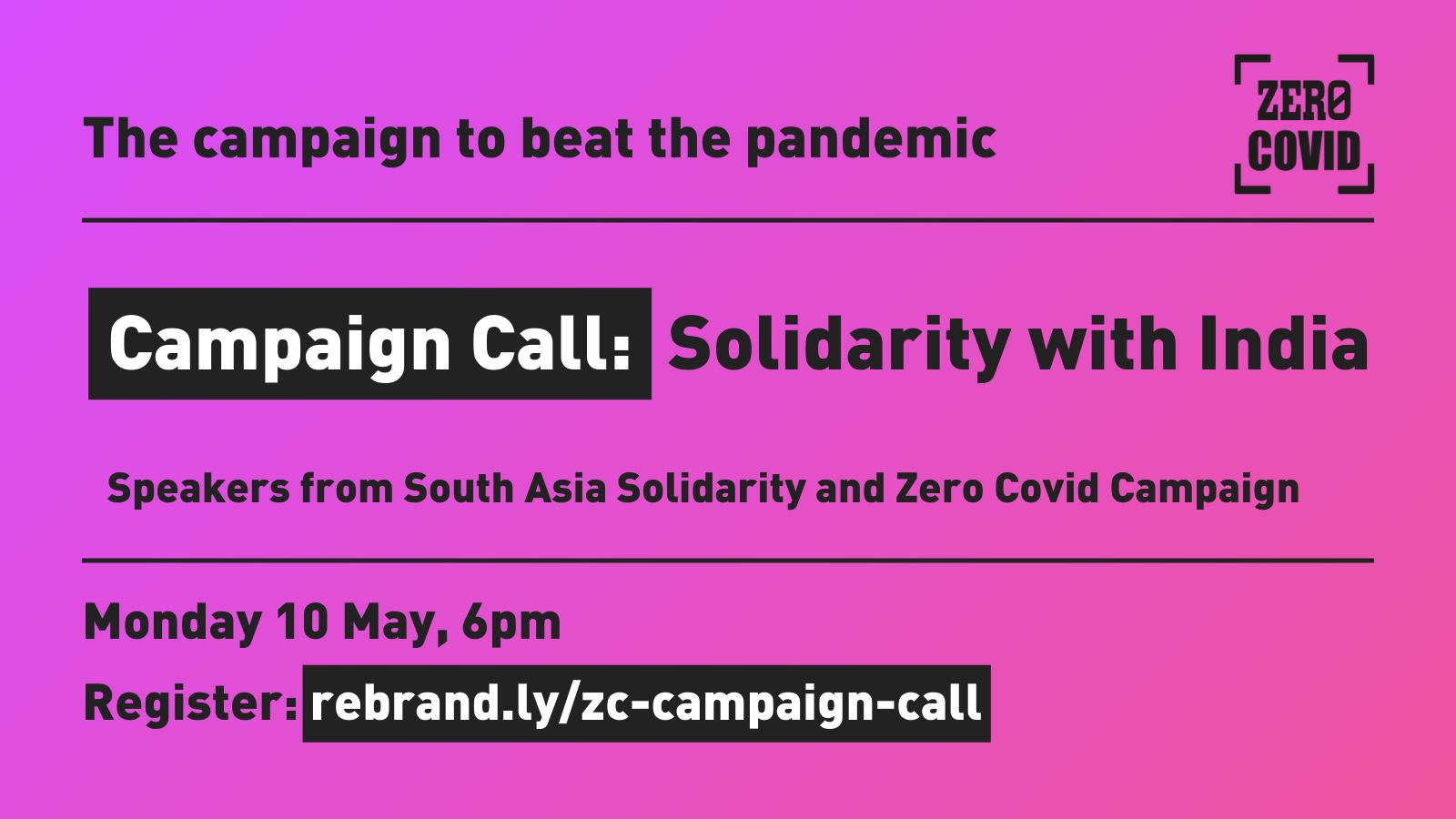 """An image publicising an event """"Campaign Call: Solidarity with India"""" on 10 May at 6pm"""