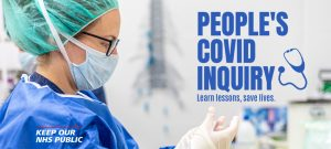 A graphic advertising the People's Covid Inquiry, featuring a picture of a nurse wearing scrubs and protective equipment