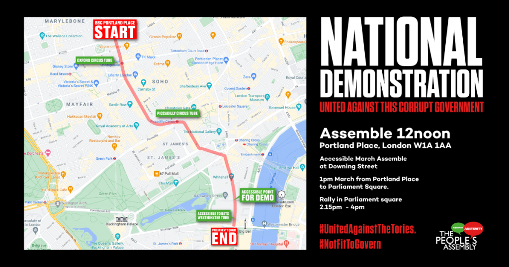 People's Assembly – National Demonstration. June 26. Assemble 12 Noon – Portland Place. March to Parliament Square.